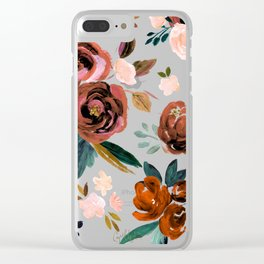 Valentina Vintage Rust Rose Clear iPhone Case