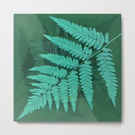 From the forest - turquoise on green Metal Print