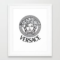 versace Framed Art Prints featuring Versace Noir by Goldflakes