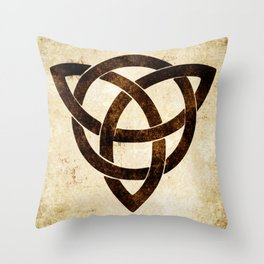 Celtic knot on old paper Throw Pillow