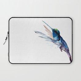 Hummingbird, Navy Blue Turquoise Artwork, minimalist bird art blue Laptop Sleeve