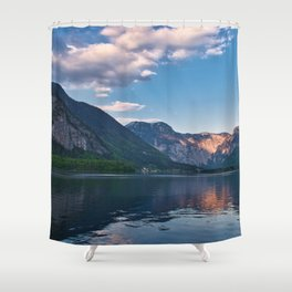 Beautiful sunset in Hallstatt village above the lake, Austria Shower Curtain