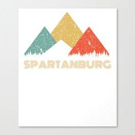 Retro City of Spartanburg Mountain Shirt Canvas Print