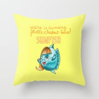 leslie knope Throw Pillows featuring Leslie Knope Compliments: Chestnut-Haired Sunfish  by Shebanimal