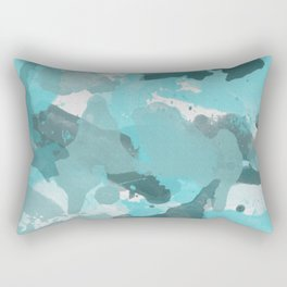 Teal / Turquoise Splatters Watercolor Camo Pattern Rectangular Pillow
