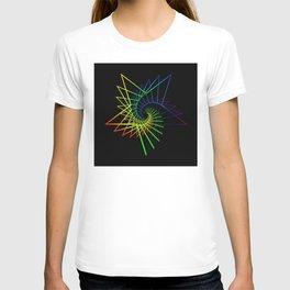 Neon star from a spiral. T-shirt