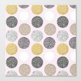 Yellow, White, Gray, Pink and Black Circle Print Canvas Print