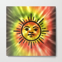 Tie Dye Sun Metal Print