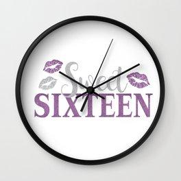 Sweet Sixteen 16 Birthday Glitter Lips Typography Wall Clock