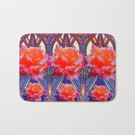 Colorful Art Nouveau Roses Vintage Design Bath Mat