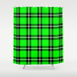 Yellow-Green #00ff00 color themed plaid SCOTTISH TARTAN Checkered Fabric Pattern texture background Shower Curtain