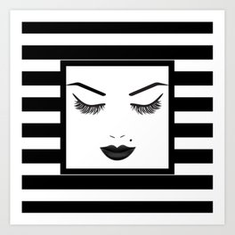 Black Lips Beauty Face Stripes Art Print