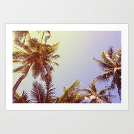 Retro Landscape of Tropical Island with Palm Trees Art Print