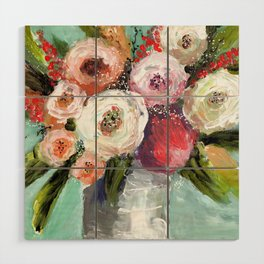 Peach and White Roses Wood Wall Art