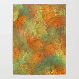 Floral Orange-Yellow-Green Poster