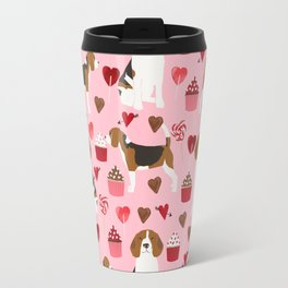 Beagle valentines day dog breed pet portrait dog lovers perfect gift i love you pet portrait Travel Mug