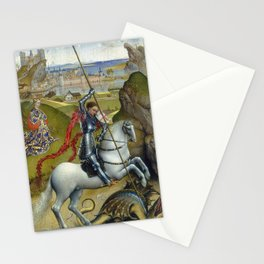 Saint George and the Dragon Oil Painting by Rogier van der Weyden Stationery Cards