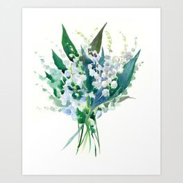 Lilies of the Valley, floral bouquet art,design spring flowers turquoise green white sky blue floral Art Print