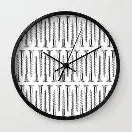 Silver Screws Background Wall Clock