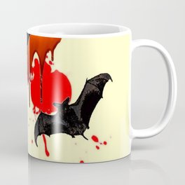 DECORATIVE FLYING BLACK BATS & HALLOWEEN BLOODY ART Coffee Mug