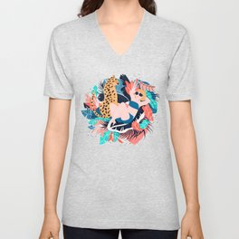 Yellow Hair Tropical Girl with Cheetah Unisex V-Neck