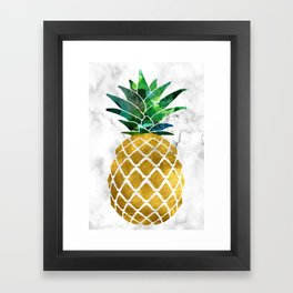 Gold Leaf Pineapple on Marble Background Framed Art Print