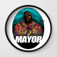 biggie smalls Wall Clocks featuring Biggie Smalls for Mayor by Tom Brodie-Browne