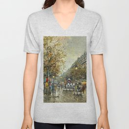 Paris, Autumn Cityscape by Antoine Blanchard Unisex V-Neck