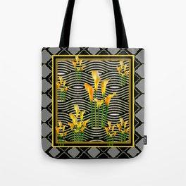 Golden Calla Lilies Black-Grey Harlequin Art Tote Bag