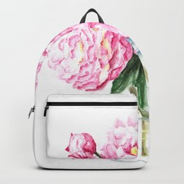 Pink Peony Painting, Watercolor Peony Art, Pink Flower Bouquet Backpack