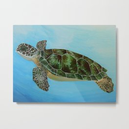 Green Sea Turtle Painting, Ocean Paintings, Sea Life Painting, Original Acrylic Painting on Canvas Metal Print