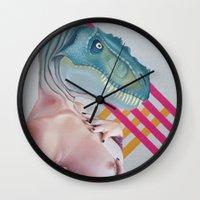 queer Wall Clocks featuring Queer Dinosaur by Kim Leutwyler