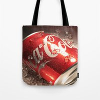 coca cola Tote Bags featuring Coca Cola by MarianaManina