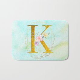 Gold Foil Alphabet Letter K Initials Monogram Frame with a Gold Geometric Wreath Bath Mat