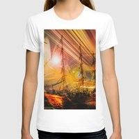 ships T-shirts featuring Sailing ships sunset by Walter Zettl