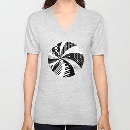 B/W Stripes and Polka Dots Graphic Art Unisex V-Neck