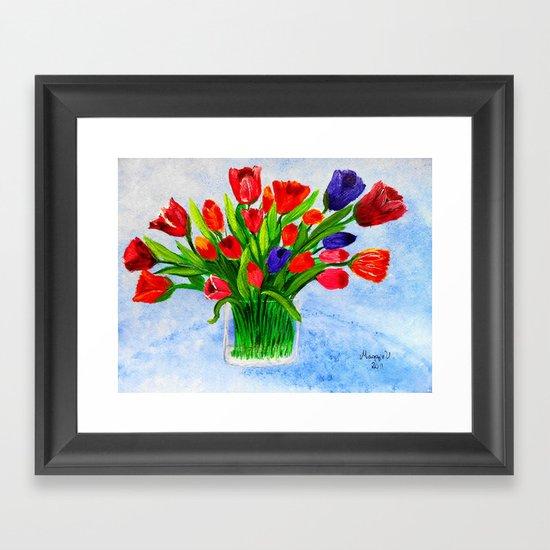 Short stem tulips Framed Art Print