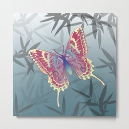 Unique Butterfly Bamboo leaves Pattern Metal Print