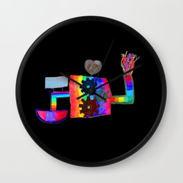 Colored fireworks machinery | Kids Painting by Elisavet Wall Clock