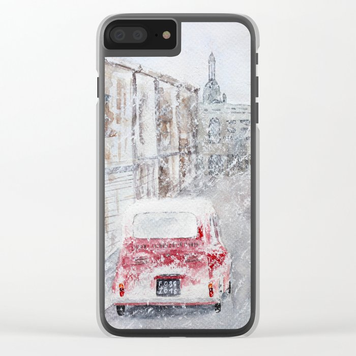 Snowfall and little red car Clear iPhone Case