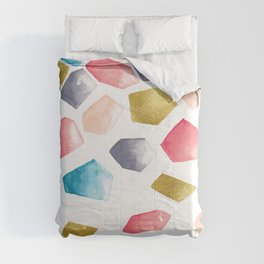 Watercolour Crystals | Grey, Blush, Blue and Gold Comforters