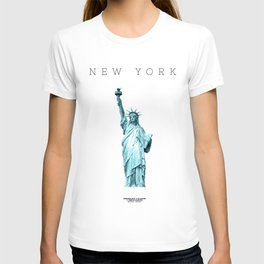 New York Minimal City Statue of Liberty T-shirt
