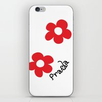 wallet iPhone & iPod Skins featuring Inspired PRADA wallet *White and Red Flower* by art_146