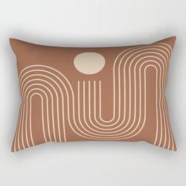 Geometric Lines in Terracotta and Beige 40 (Sunrise over the ocean) Rectangular Pillow