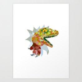 Raptor Breaking Out Low Polygon Art Print