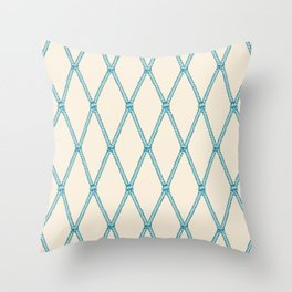 Nautical Fishing Net (Beige and Teal) Throw Pillow