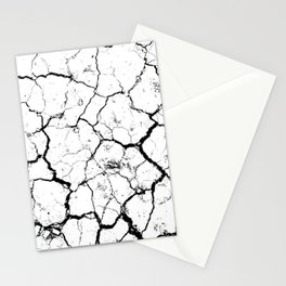 The cracks texture white and black Stationery Cards