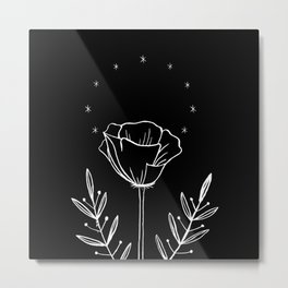 California Poppy / Black & White Metal Print