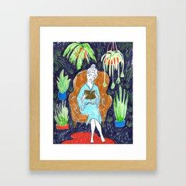 Jungle Reading Room Drawing by Amanda Laurel Atkins Framed Art Print