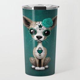 Blue Day of the Dead Sugar Skull Chihuahua Puppy Travel Mug